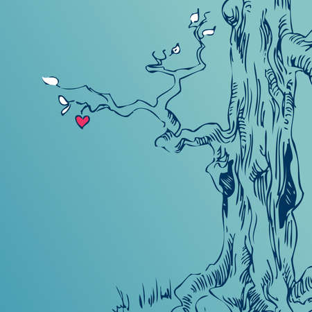tree line: hand drawn tree on blue background Illustration