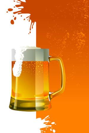 Beer mug with froth over grunge background Illustration