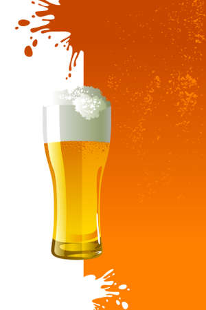 Frosty glass of light beer over grunge background