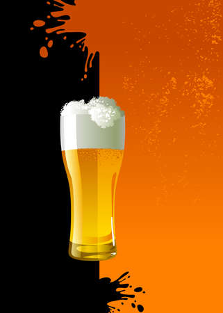 Frosty glass of light beer over grunge background Vector