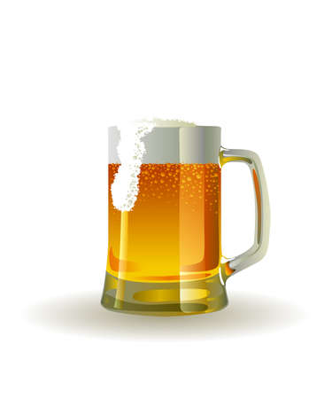 Beer mug with froth over white background Ilustração