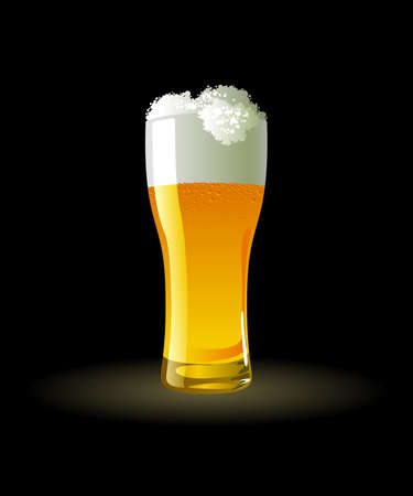 Frosty glass of light beer on black background Stock Vector - 10038872