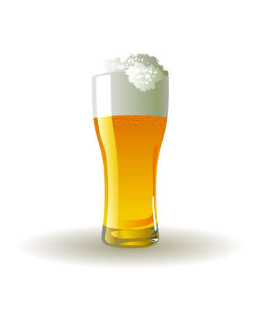 Frosty glass of light beer on white background Ilustração