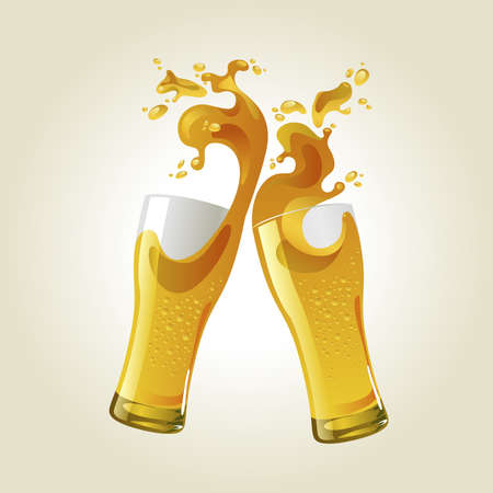 Pair of beer glasses making a toast. Beer splash Ilustração