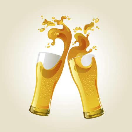 beers: Pair of beer glasses making a toast. Beer splash Illustration