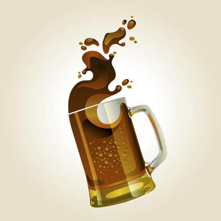 Black beer mug with splash over white background Stock Vector - 10038877