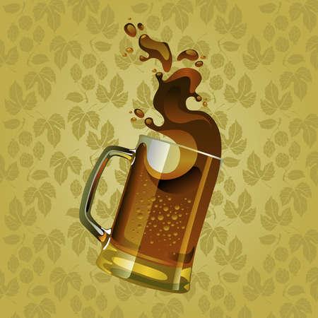 Black beer mug with splash over sepia background Stock Vector - 10038883