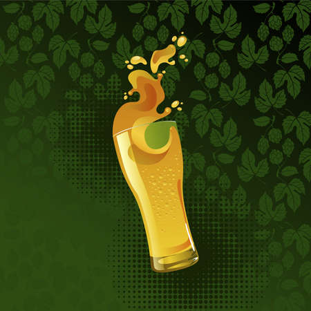 Frosty glass of light beer with splash on green background Stock Vector - 10038881