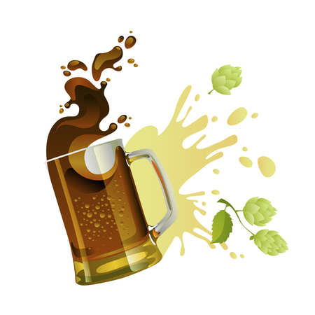 Black beer mug with splash over white background Illustration