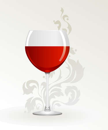 goblet: Glass of red wine on a white background