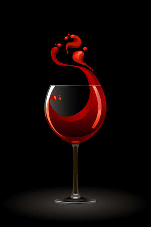 red wine: Glass of red wine on a black background Illustration