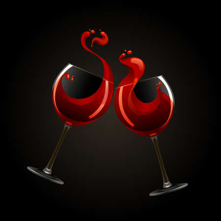 Two glasses of red wine with splash over black background