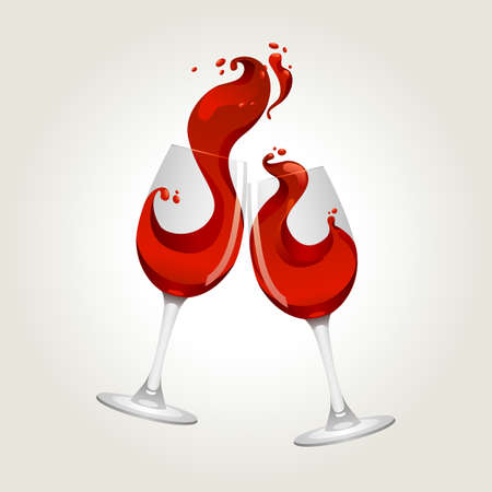 toasting wine: Toasting gesture two red wine glasses with big splash