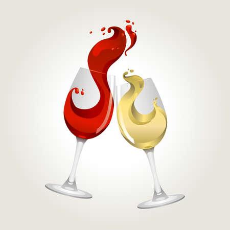 saúde: Brindando gesto de vinho vermelho e branco com respingo grande Ilustração