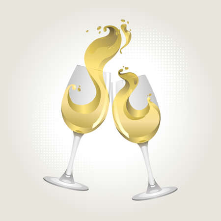 Toasting gesture two white wine glasses with big splash