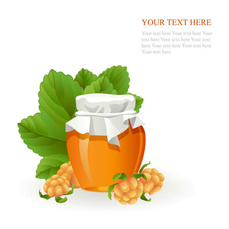Cloudberry jam jar with fresh berry isolated on white background