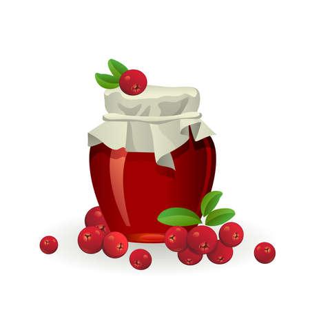 Cranberry jam jar with fresh berry isolated on white background Illustration