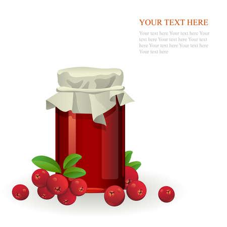 jam jar: Cranberry jam jar with fresh berry isolated on white background Illustration