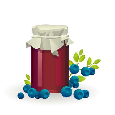 Blueberry jam jar with fresh berry isolated on white background