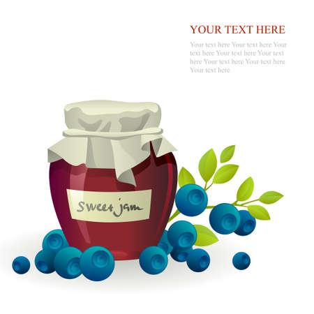blueberry jam: Blueberry jam jar with fresh berry on white Illustration