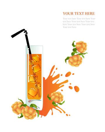 rubus chamaemorus: Vaso de jugo de mora de los pantanos en un fondo blanco