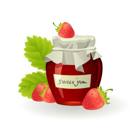 白い新鮮なラズベリーといちごジャム  イラスト・ベクター素材