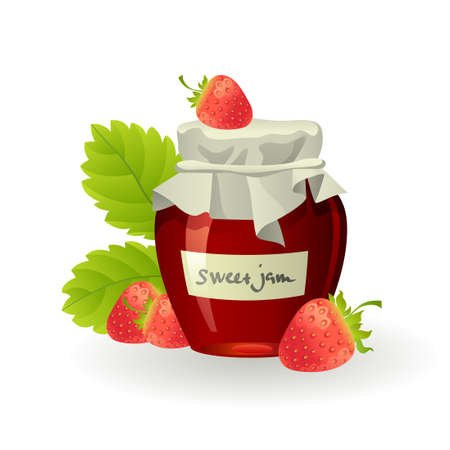 Strawberry jam with fresh raspberries on white