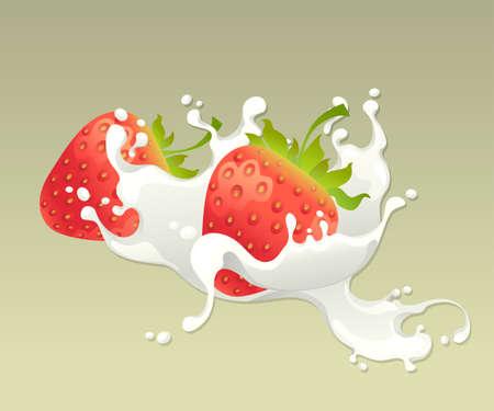 Milk splash with strawberry on light background