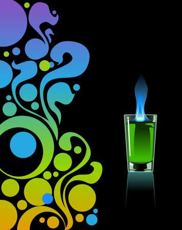 ajenjo: Vaso de absenta en el fondo negro