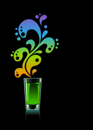 aperitif: Glass of absinthe on black background