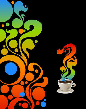Cup of coffee on grange floral background  Vector