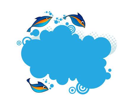 Blue frame with aqua design