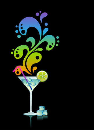 Martini with ice and lime on black background