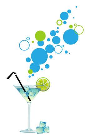 Martini met ijs en limoen