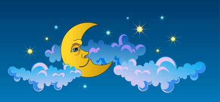 eye shade: Yellow moon sleeping on clouds