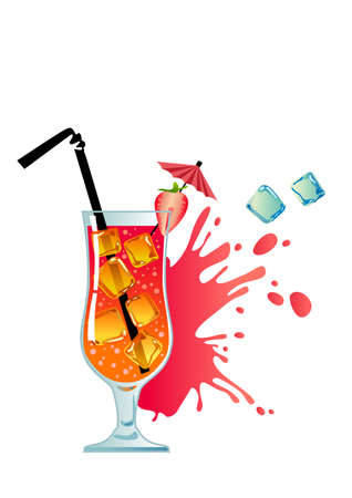 Tropical cocktail with strawberry and ice  Illustration