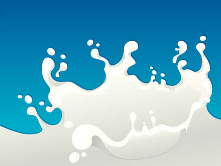 Milk splash isolated on blue background  Illustration