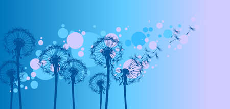 青い背景のタンポポ  イラスト・ベクター素材