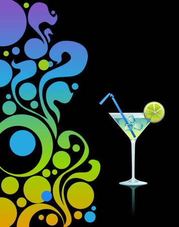 summer break: Martini with ice and lime on black background