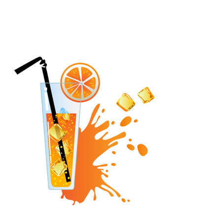Alcohol orange cocktail with ice