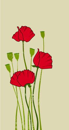card design with stylized poppy