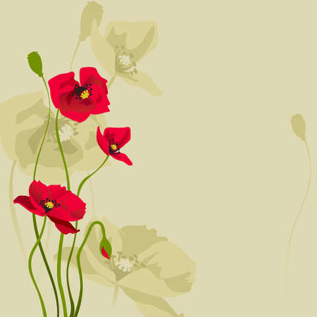 card design with stylized poppy Vector