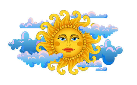 Big hot gold sun on clouds  Ilustracja