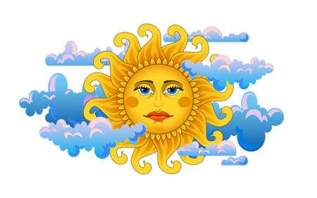 summer solstice: Big hot gold sun on clouds  Illustration