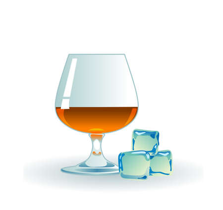 Glass of whiskey with ice on white  Illustration