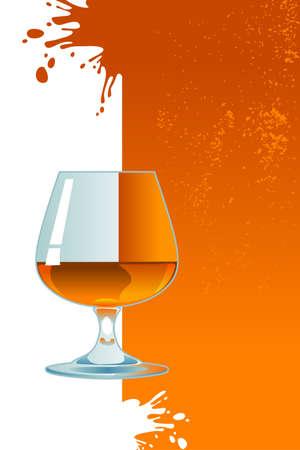 Glass of whiskey on orange background  Illustration