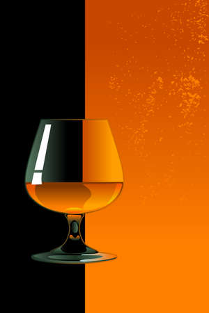 Glass of whiskey on orange and black background Stock Vector - 23819049