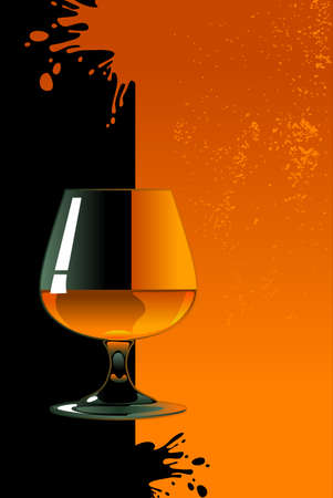 Glass of whiskey on orange and black background Stock Vector - 24191094