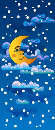 Yellow moon sleeping on clouds