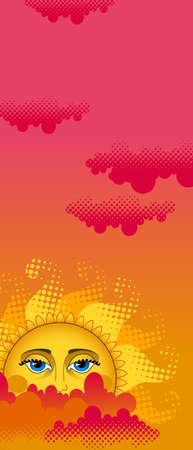 Big hot gold sun on clouds  Illustration